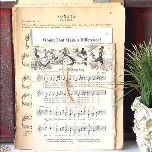 Vintage Music Sheets Ephemera, Music Sheet Paper